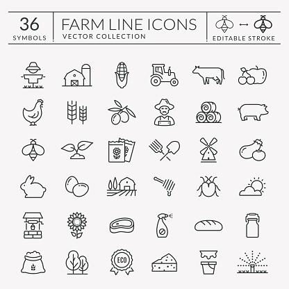 Farm and agriculture vector line icons. Editable stroke.
