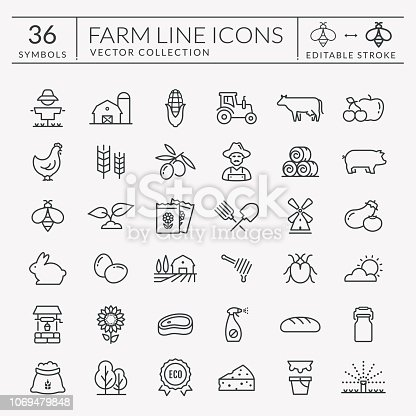 istock Farm and agriculture vector line icons. Editable stroke. 1069479848