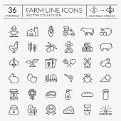 Farm and agriculture vector line icons. Editable stroke.