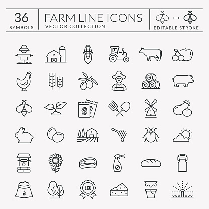 Farm And Agriculture Vector Line Icons Editable Stroke - Immagini vettoriali stock e altre immagini di Agricoltore