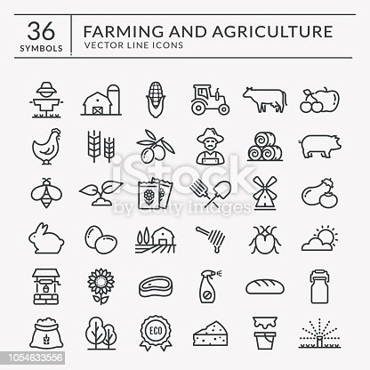 Farming and agriculture web line icon set. Vector isolated farm and countryside outline symbols: cereal crop, fruits, vegetables, natural dairy products, fresh meal, animals, plants, tools, equipment.