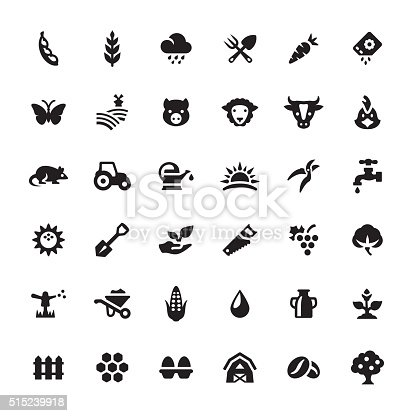 Farm And Agriculture Vector Symbols And Icons Stock Vector