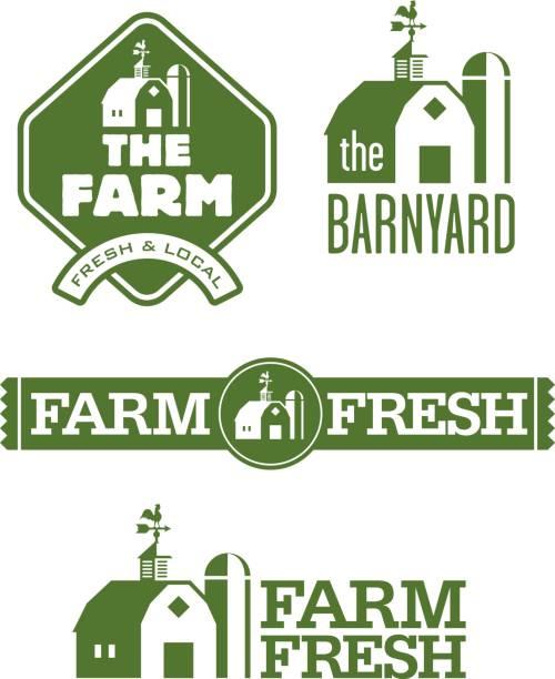 Farm and Barn s Set of four farm and barn  designs for farm fresh local food. cupola stock illustrations