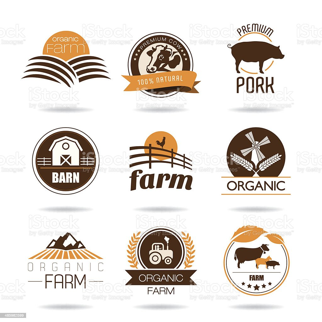 Farm and butcher shop icon set vector art illustration