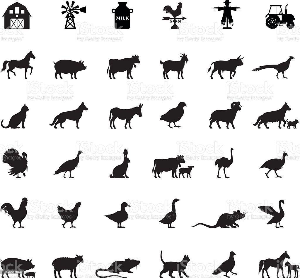 Farm e animais domésticos - ilustração de arte em vetor