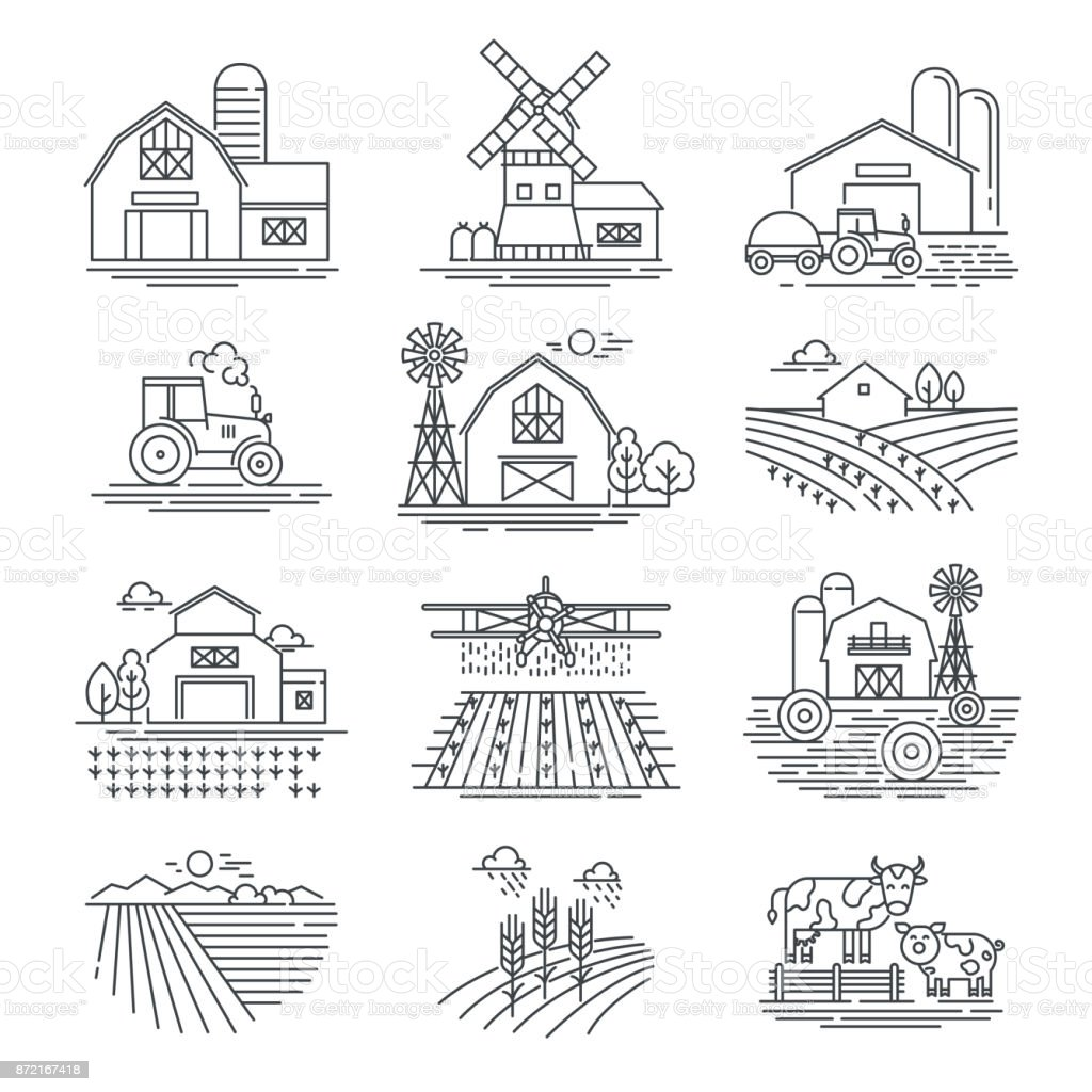 Farm and farming fields linear vector icons isolated on white background. Farming and agriculture life concept. Harvester tractors and village buildings. Thin black line style vector art illustration