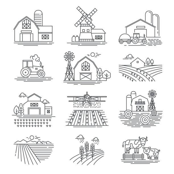농장 및 농업 분야 선형 벡터 아이콘 흰색 배경에 고립. 농업 및 농업 생활 개념입니다. 수확기 트랙터 그리고 마 건물입니다. 얇은 검은 선 스타일 - 농장 stock illustrations