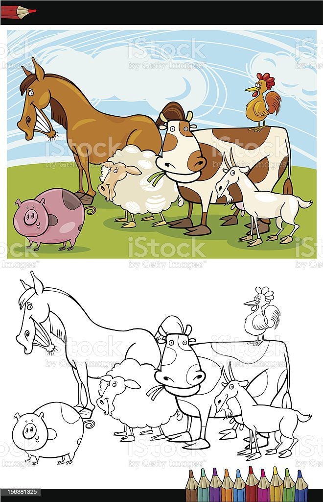 Farm and Livestock Animals for Coloring royalty-free stock vector art