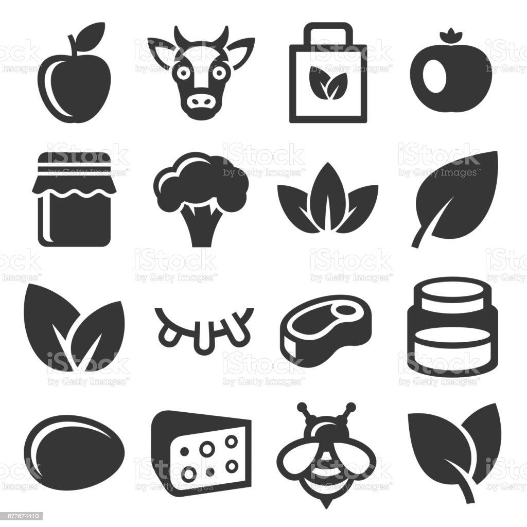Granja y conjunto de iconos de alimentos orgánicos. Vector de - ilustración de arte vectorial