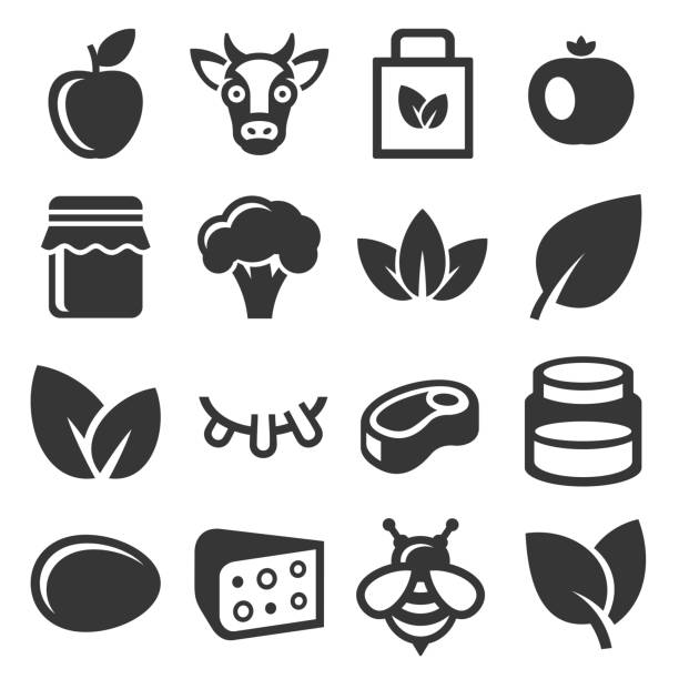 farm and organic food icons set. vector - fruit icon stock illustrations, clip art, cartoons, & icons