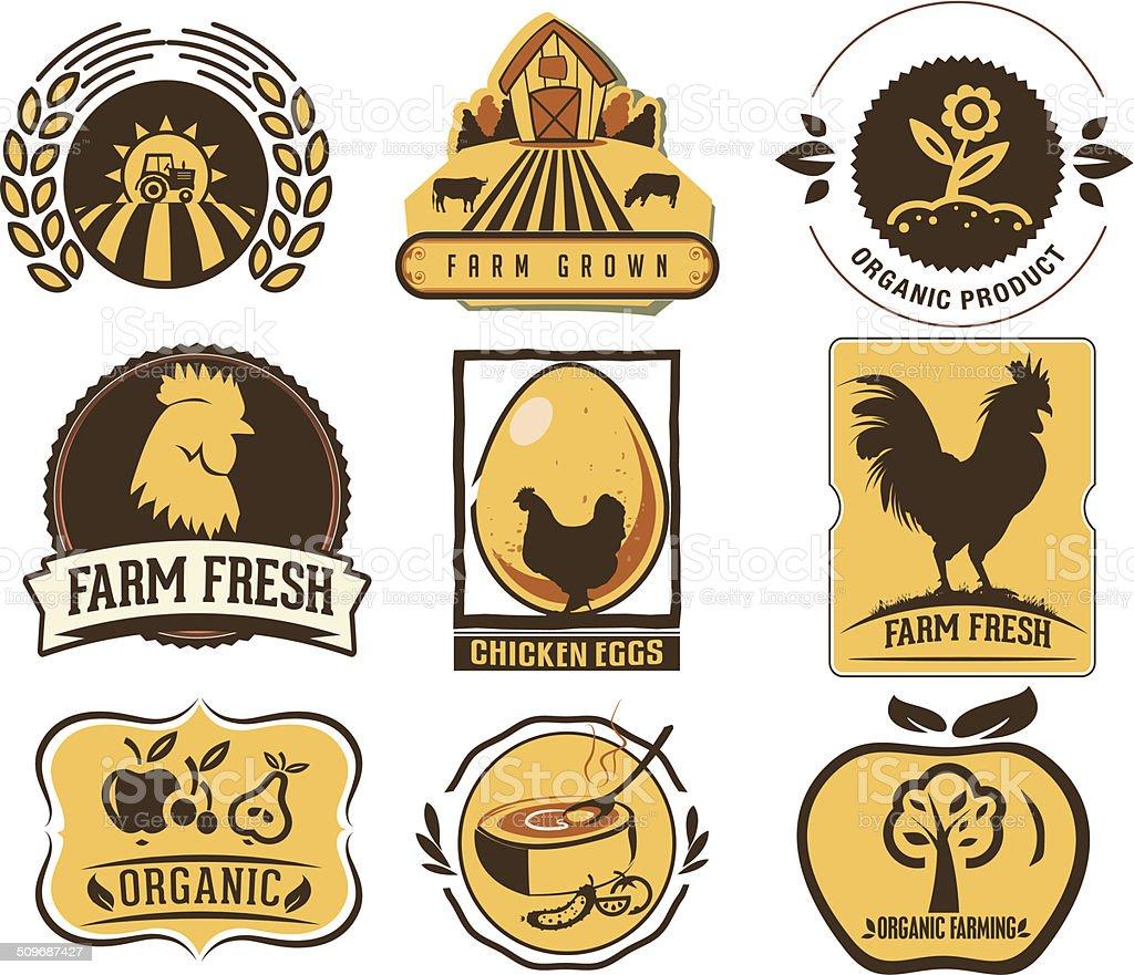 Farm and Organic Food icons vector art illustration
