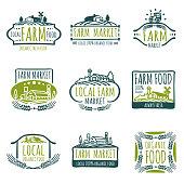 Farm and organic food vector labels. Vintage farmer badges. Food natural market product, fresh farm organic food illustration
