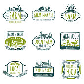 Farm and organic food vector labels. Vintage farmer badges. Food natural market product, fresh farm organic food illustration