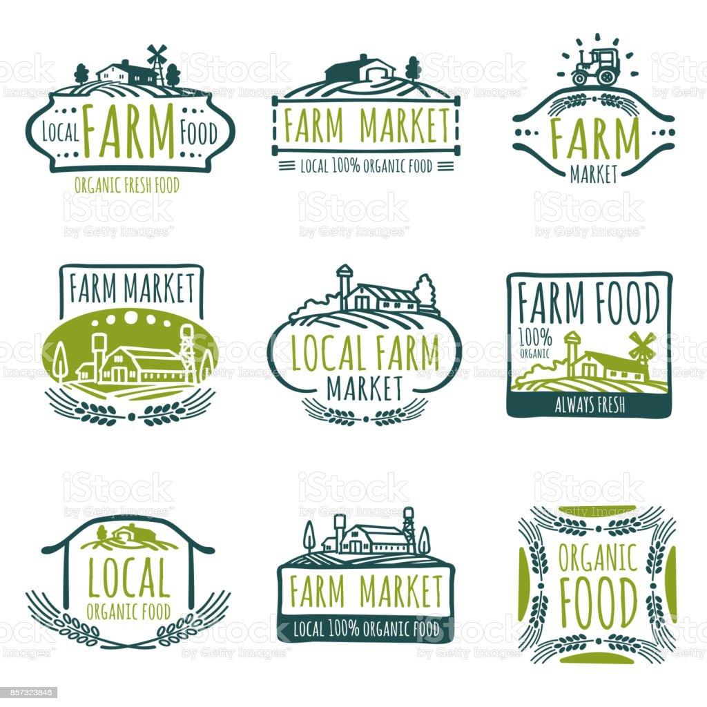 Farm and organic food vector labels. Vintage farmer badges vector art illustration