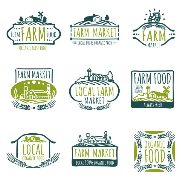 Farm and organic food vector labels. Vintage farmer badges Farm and organic food vector labels. Vintage farmer badges. Food natural market product, fresh farm organic food illustration organic farm stock illustrations