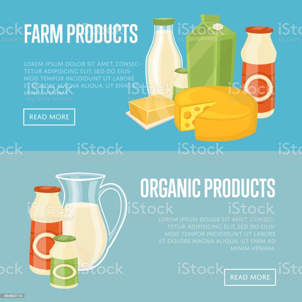 농장 및 유기농 제품 웹사이트 템플릿 - 로열티 프리 0명 벡터 아트