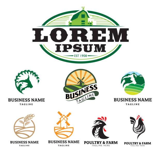 stockillustraties, clipart, cartoons en iconen met boerderij en gevogelte thema logo set. vector - poultry farm