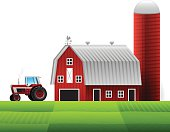 Farm with barn and silo and tractor. EPS 10 file. Transparency used on highlight elements.