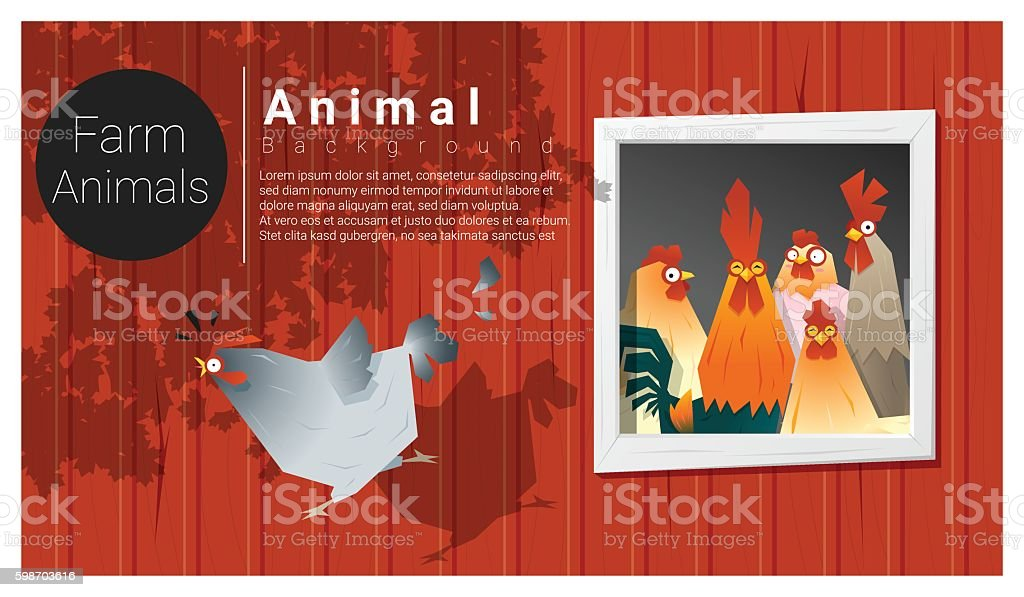 Farm animal background with chicken vector art illustration