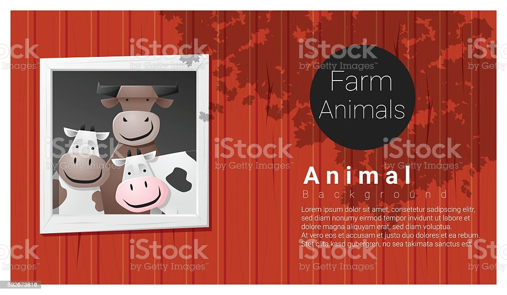Farm animal background with cow vector art illustration
