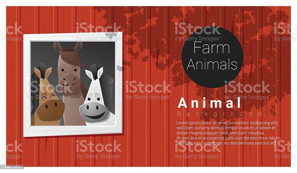 Farm animal background with horse vector art illustration