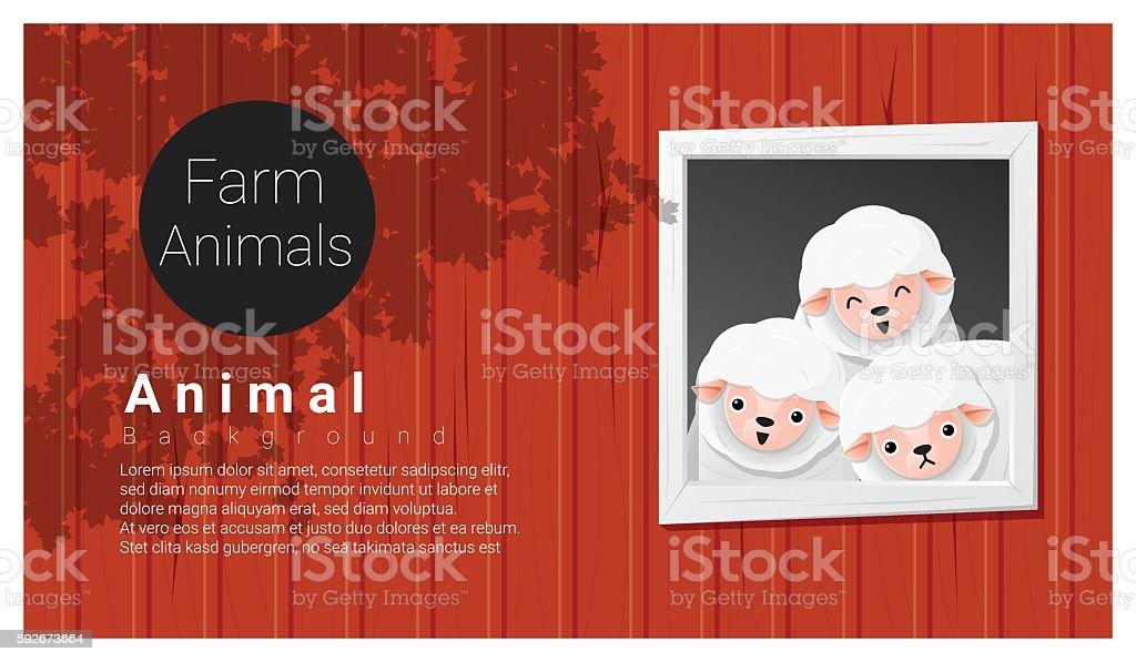 Farm animal background with sheep vector art illustration