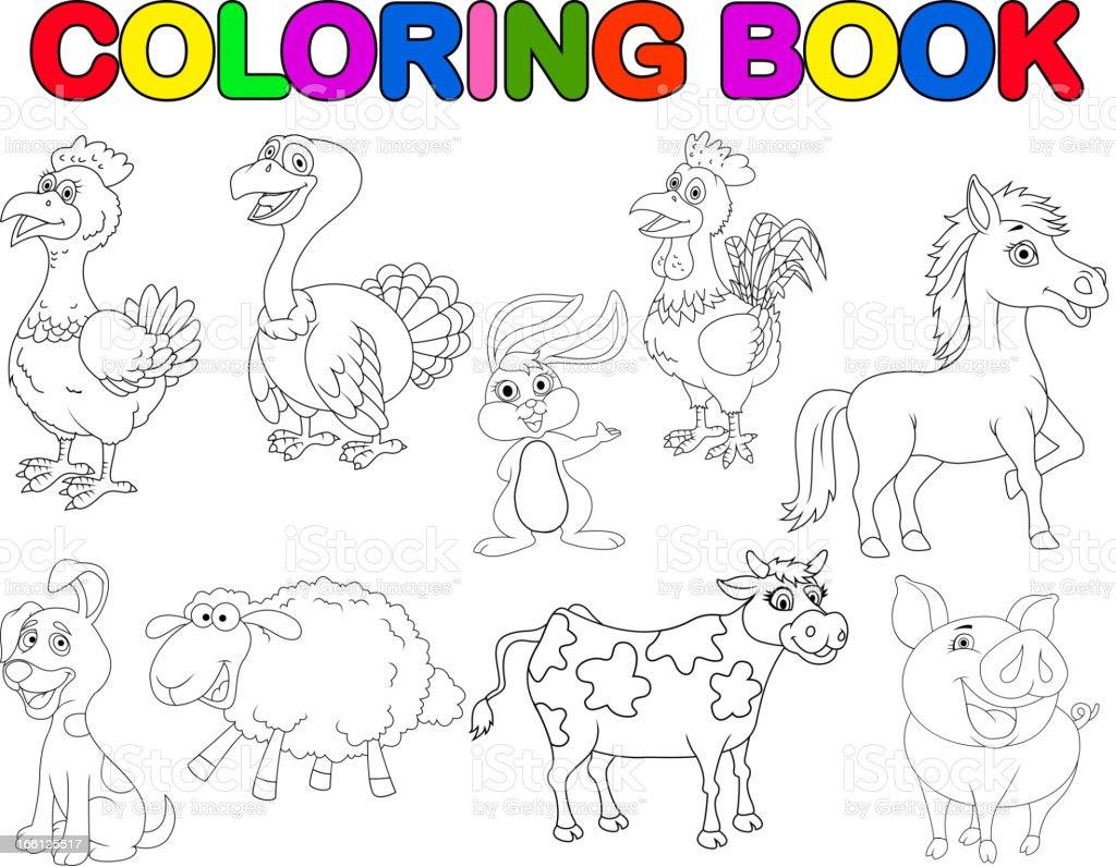 Fattoria Animale Fumetto Raccolta Libro Da Colorare Immagini