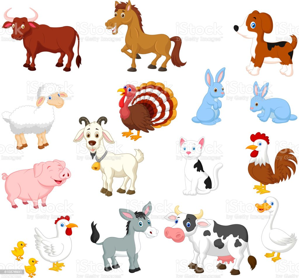 Vector illustration of Farm animal cartoon collection set