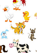 vector illustration of farm animal cartoon collection