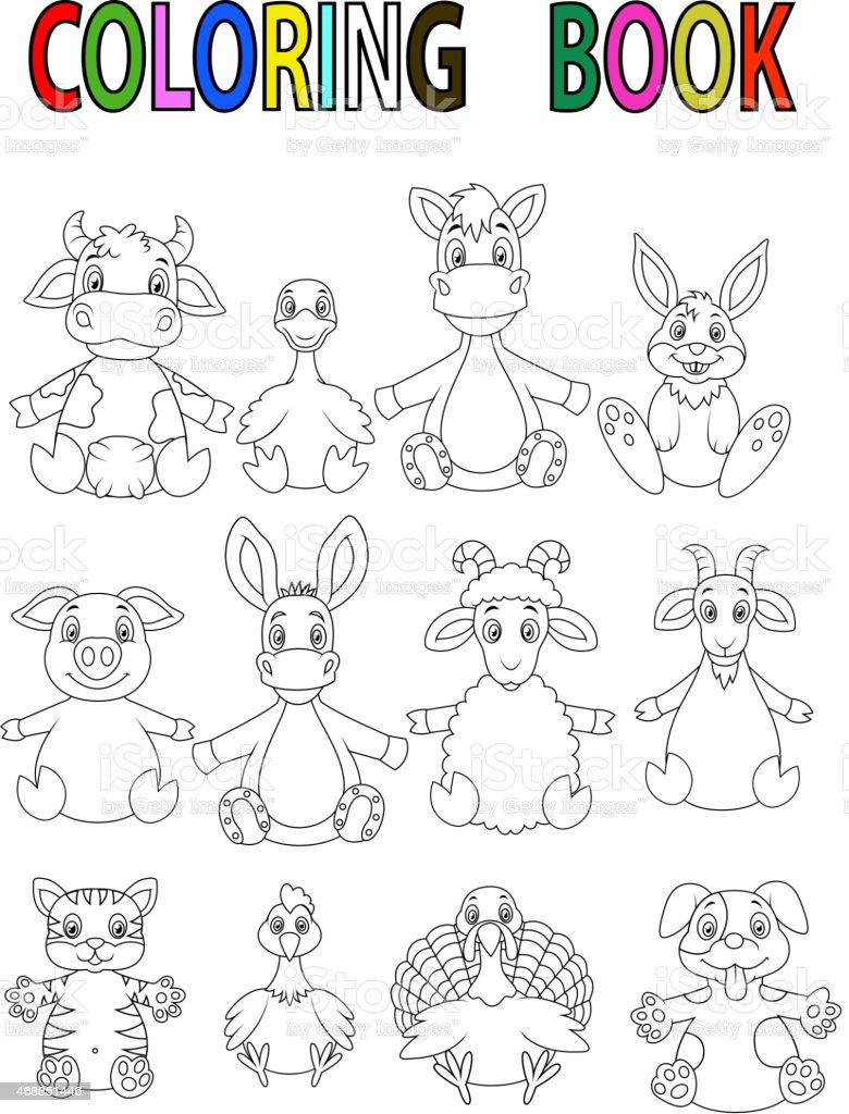 Ferme Animaux De Dessin Animé Livre De Coloriage Vecteurs