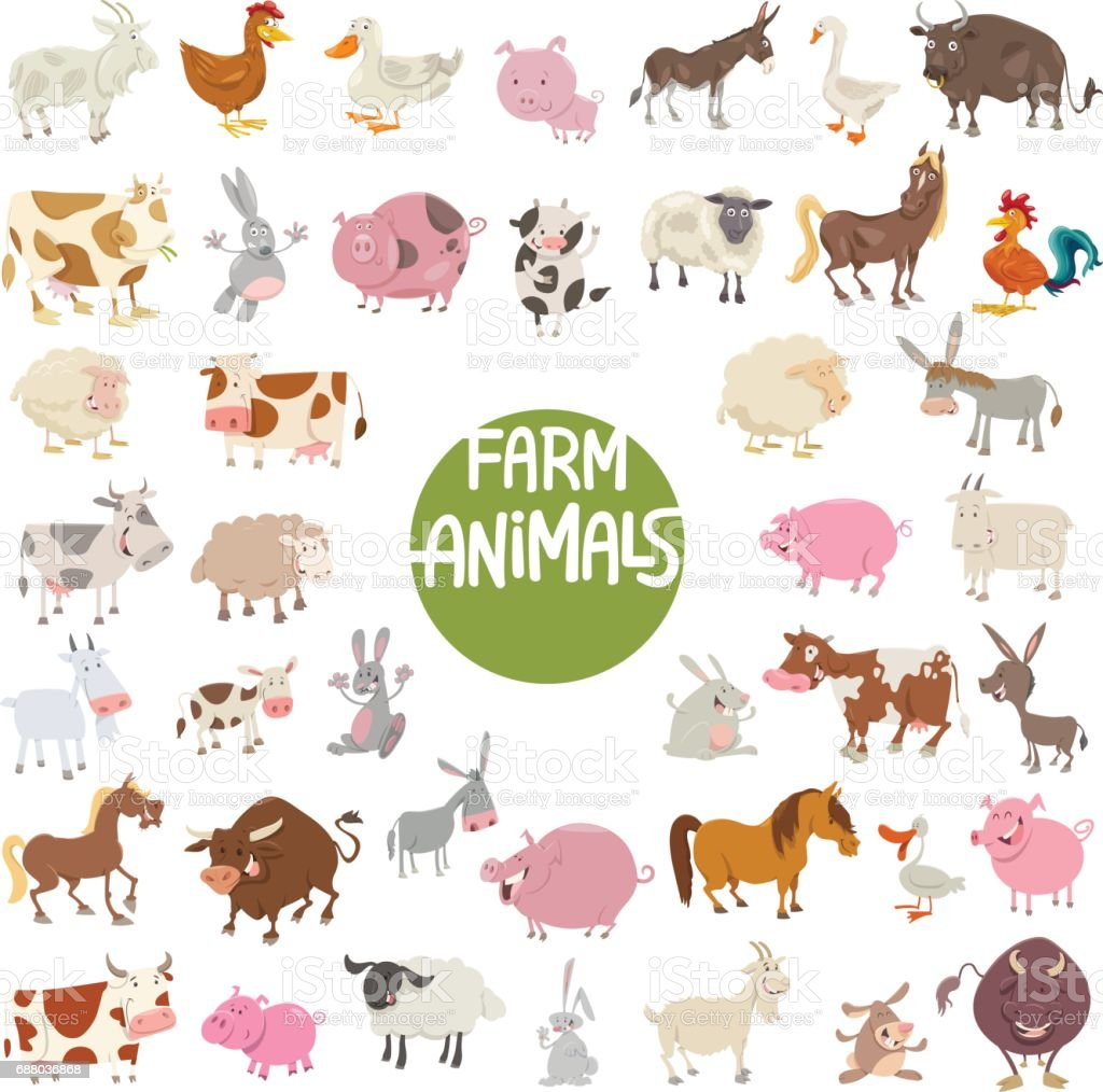 farm animal characters big set vector art illustration