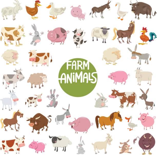 farm animal characters big set vector art illustration