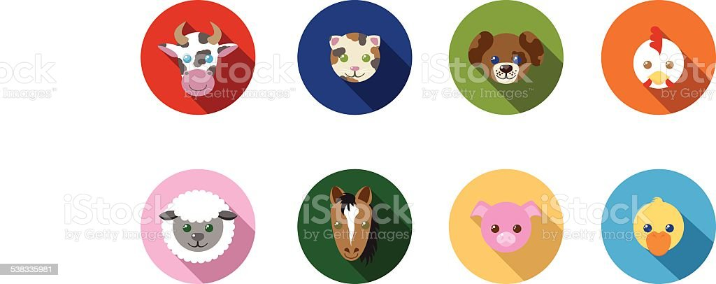 Farm Animal Flat Long Shadow Icons royalty-free farm animal flat long shadow icons stock vector art & more images of 2015