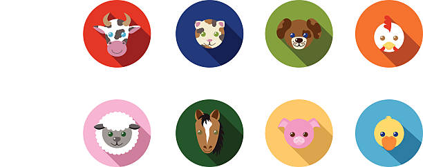 Farm Animal Flat Long Shadow Icons vector art illustration