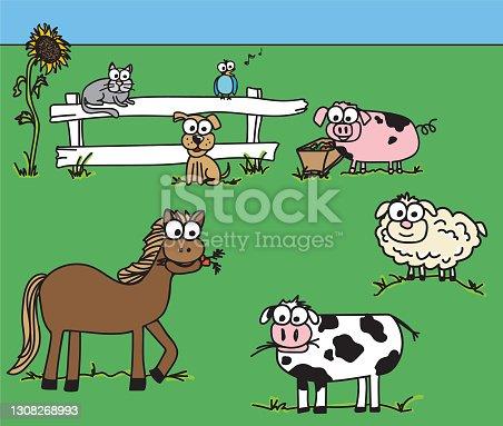 istock Farm Animal Googly Eye Doodles 1308268993
