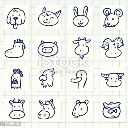 Vector File of Doodle Animal Icon Set