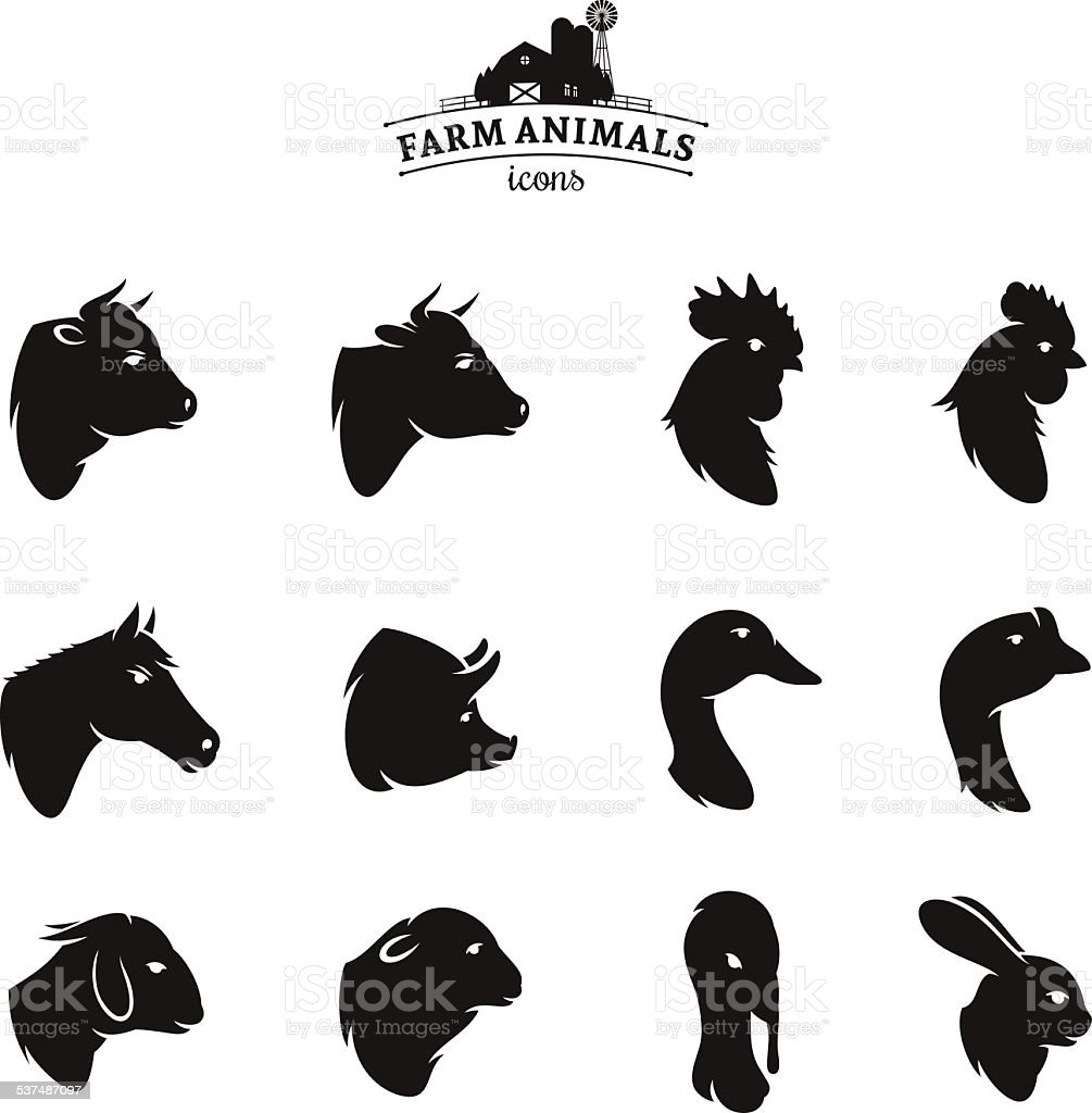 Farm Animal Icons Isolated on White vector art illustration