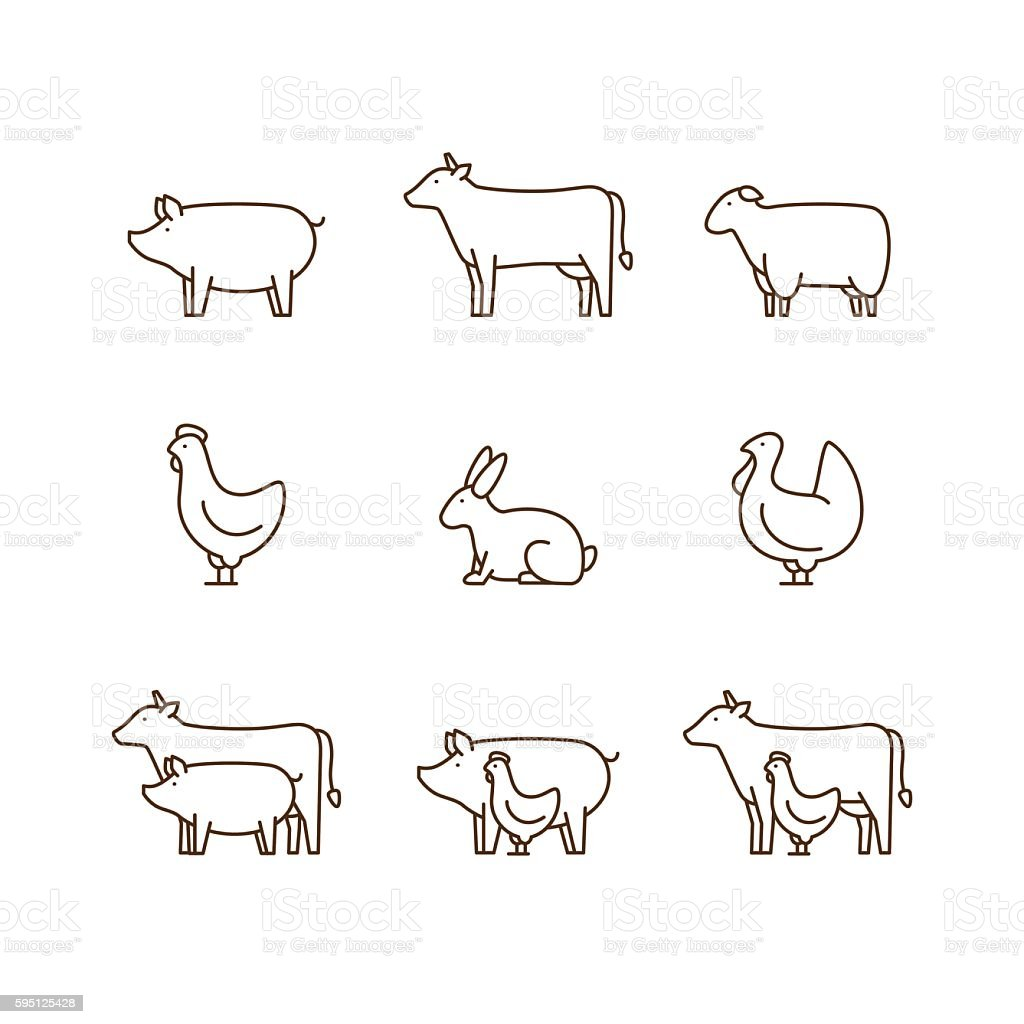 Farm animal outline icon set. vector art illustration
