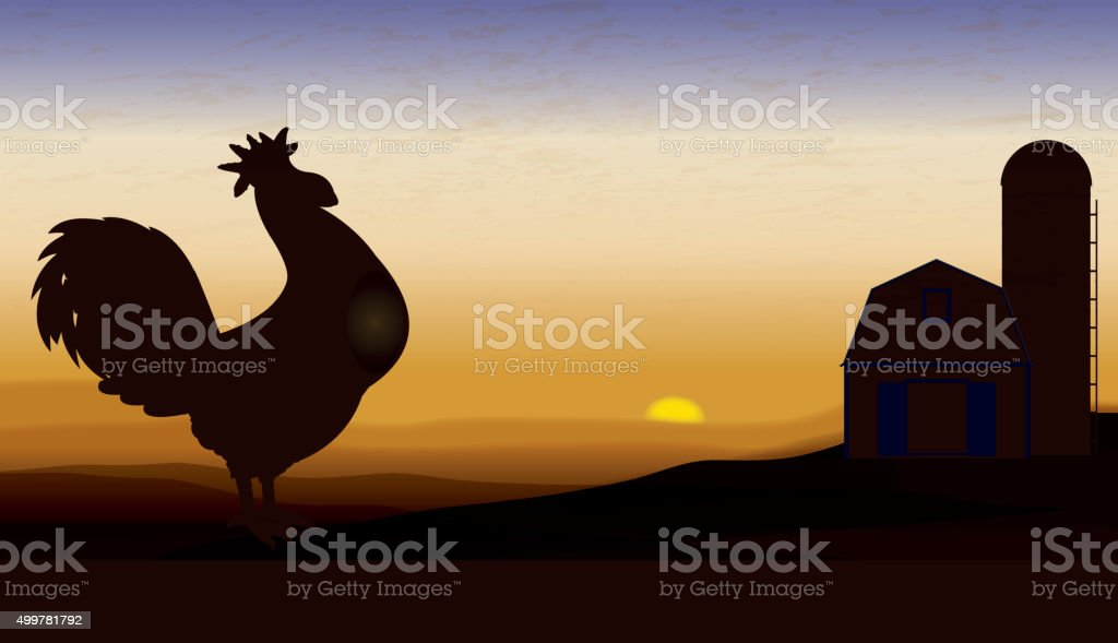 Farm Animal, Rooster at Dawn Crowing Background vector art illustration