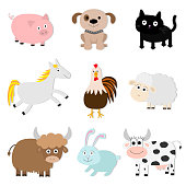 Farm animal set. Pig, cat, cow, dog, rabbit, ship horse, rooster bull Baby collection. Flat design style. Isolated White background Vector illustration