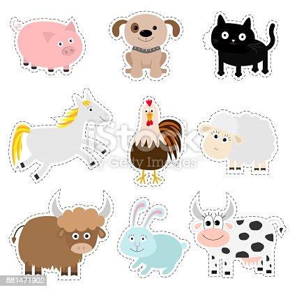 Ilustración de Conjunto De Animales De Granja Cerdo Perro Gato ...