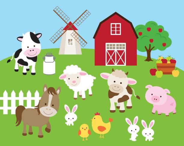 ilustrações, clipart, desenhos animados e ícones de conjunto de animais da fazenda - animais da fazenda