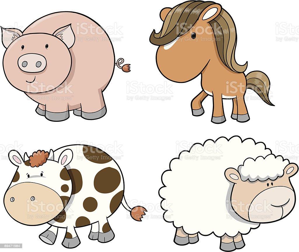 Farm Animal set Vector Illustration royalty-free farm animal set vector illustration stok vektör sanatı & animasyon karakter'nin daha fazla görseli