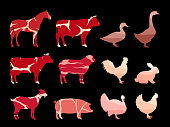istock Farm animal silhouettes and meat textures 1287258570