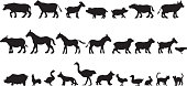 Vector silhouettes of a group of farm animals.