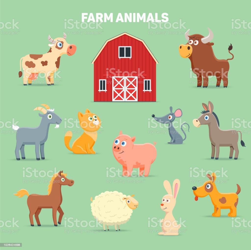 Farm animals and barn - illustrazione arte vettoriale