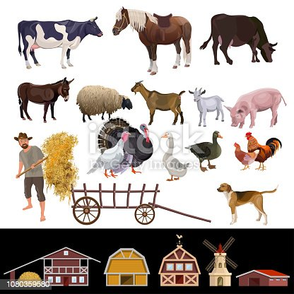 Set of farm animals and farm building. Vector illustration isolated on white background