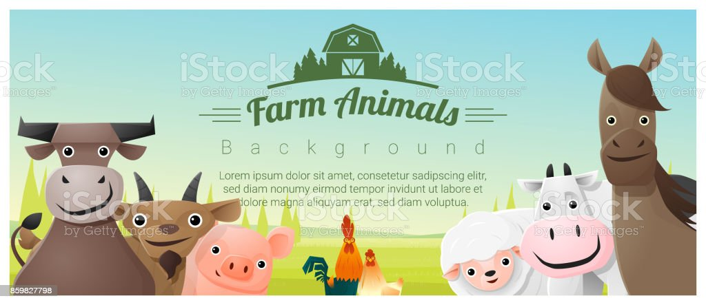 Farm animals and Rural landscape background , vector , illustration vector art illustration