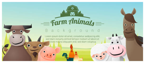 farm animals and rural landscape background , vector , illustration - farm animals stock illustrations, clip art, cartoons, & icons