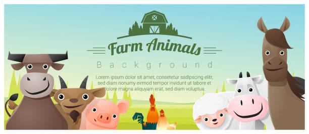 Farm animals and Rural landscape background , vector , illustration vector art illustration